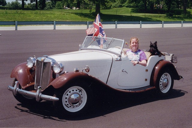 Peg and Scotty in the MG