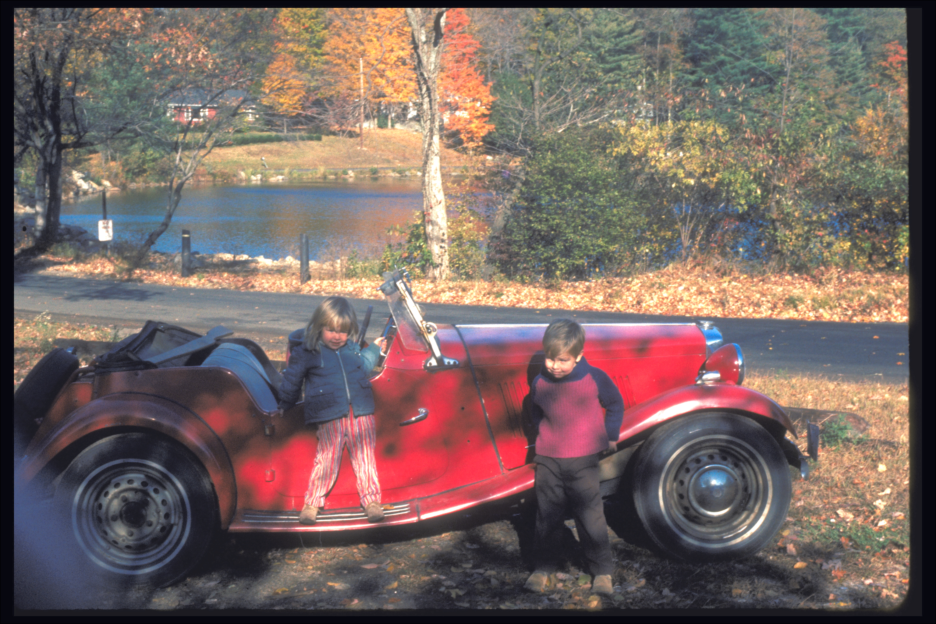 Rob and Miriam On the MG, 1975