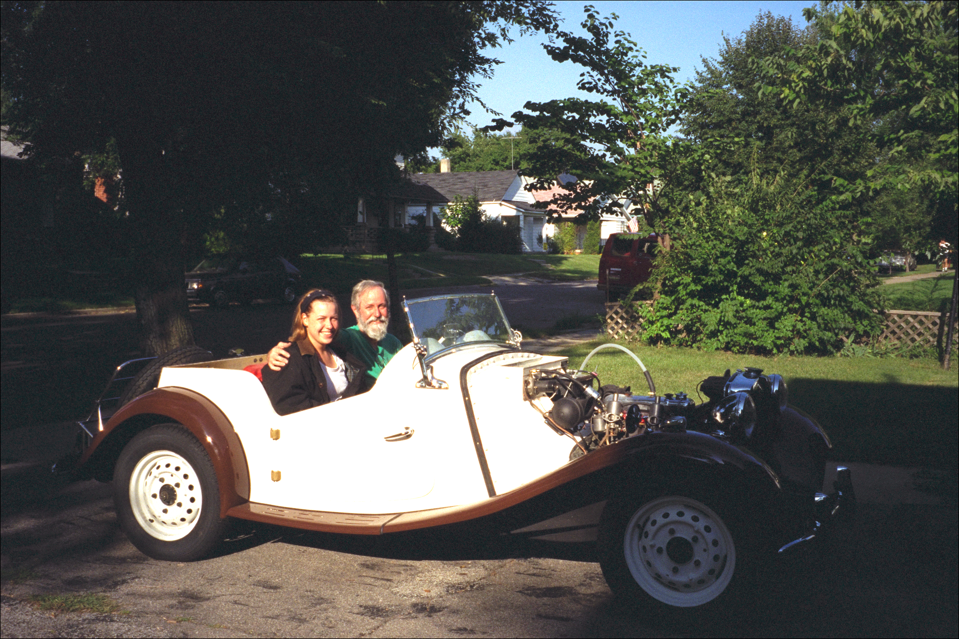 Bob and Miriam In MG, 1993Bob and Miriam back from a test drive, 1993