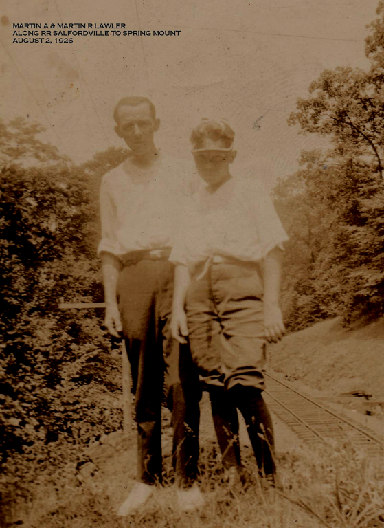 BobDad8: Martin R. Lawler at 14, with his father, beside railroad