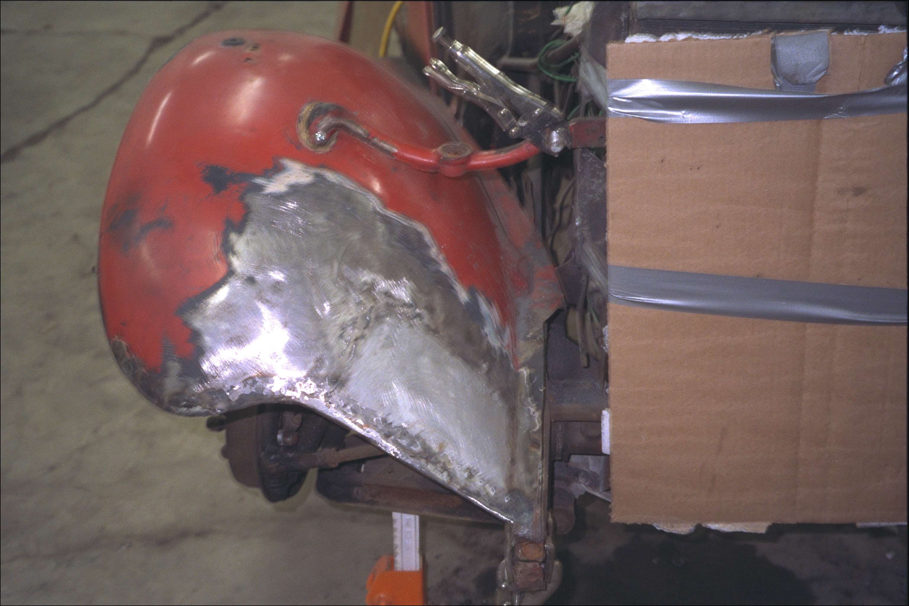 Repair of right front fender tear