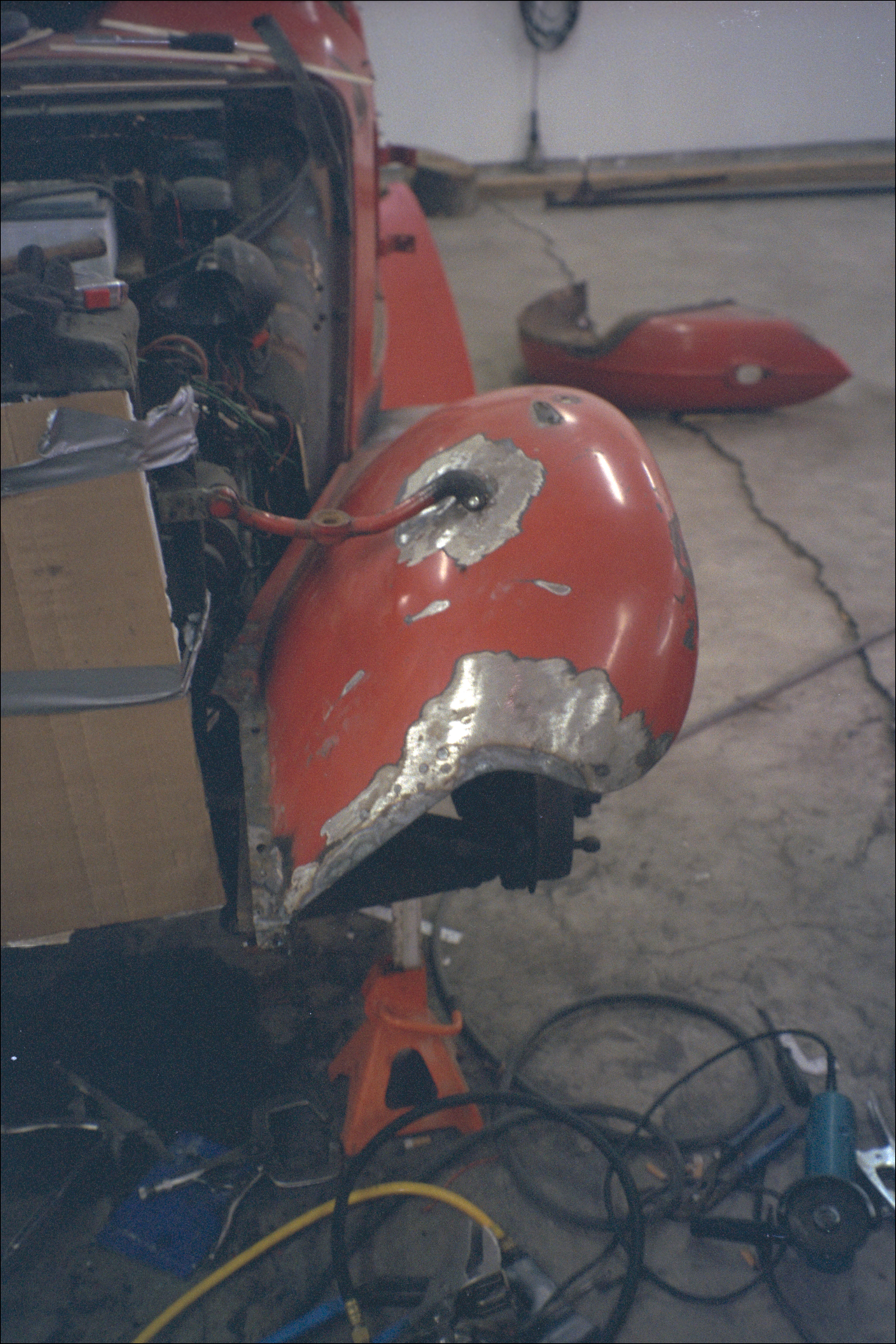 Modifying left front fender leading edge