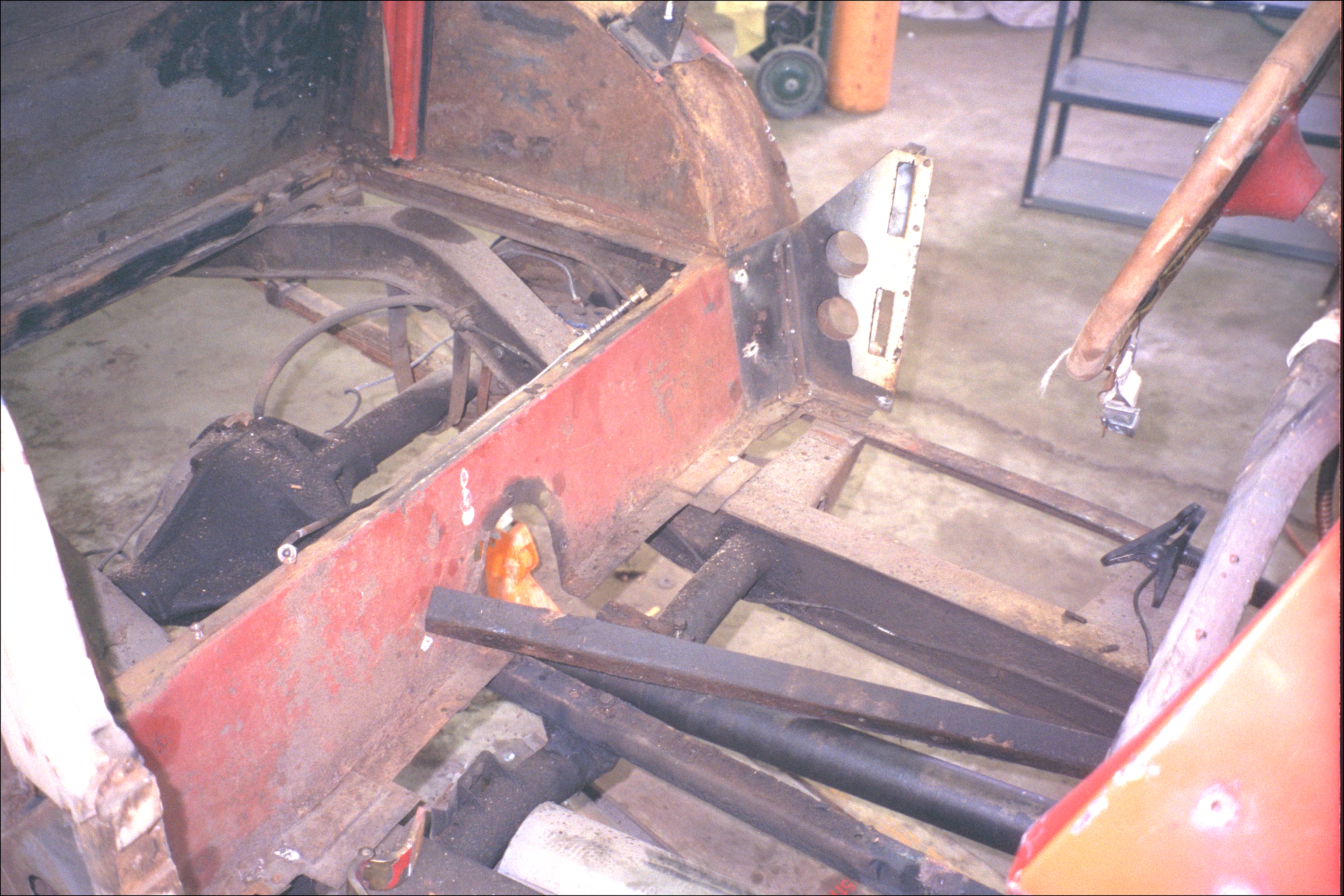 Drive shaft, with angle iron shaft supports