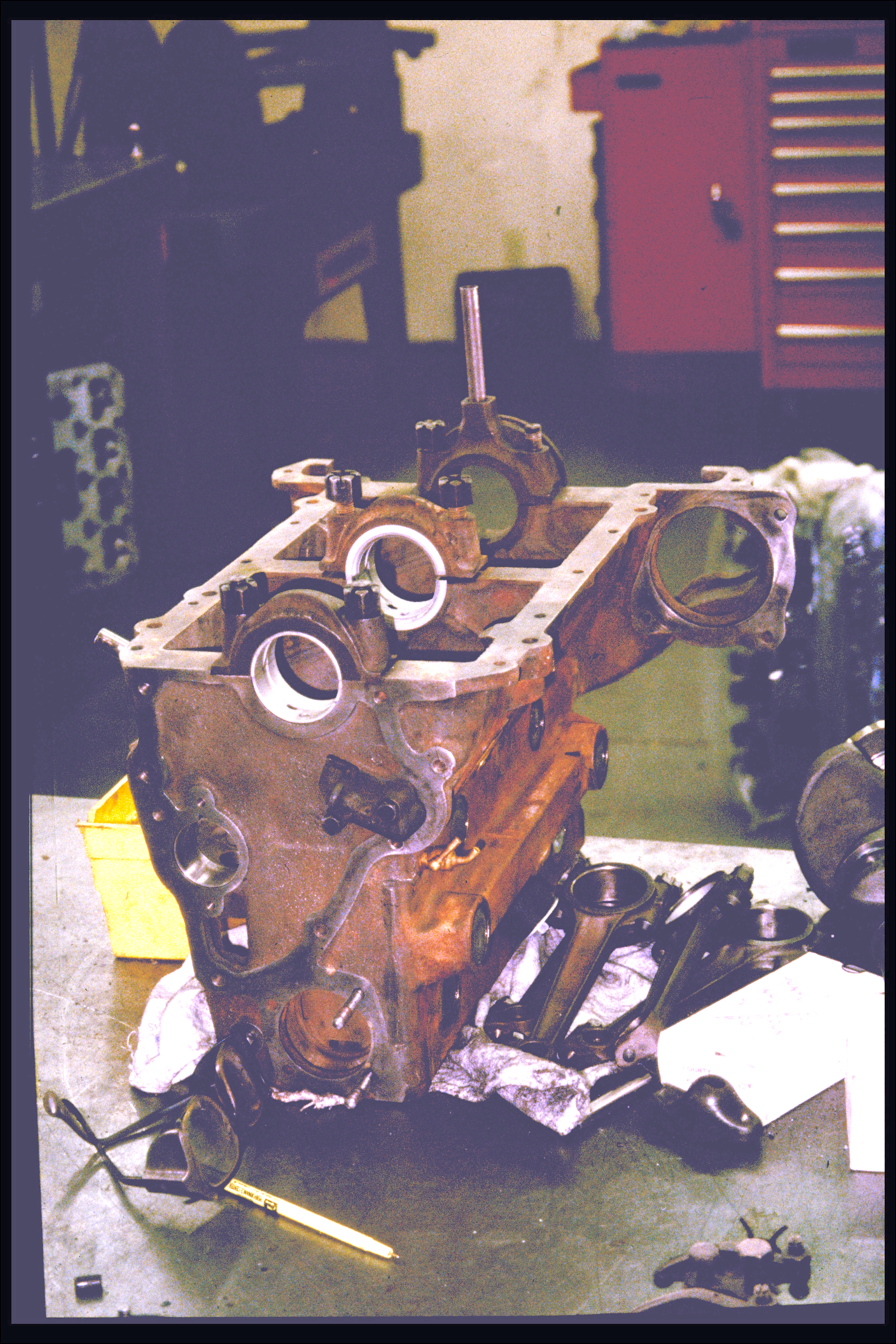 Engine block (inverted) and piston rods
