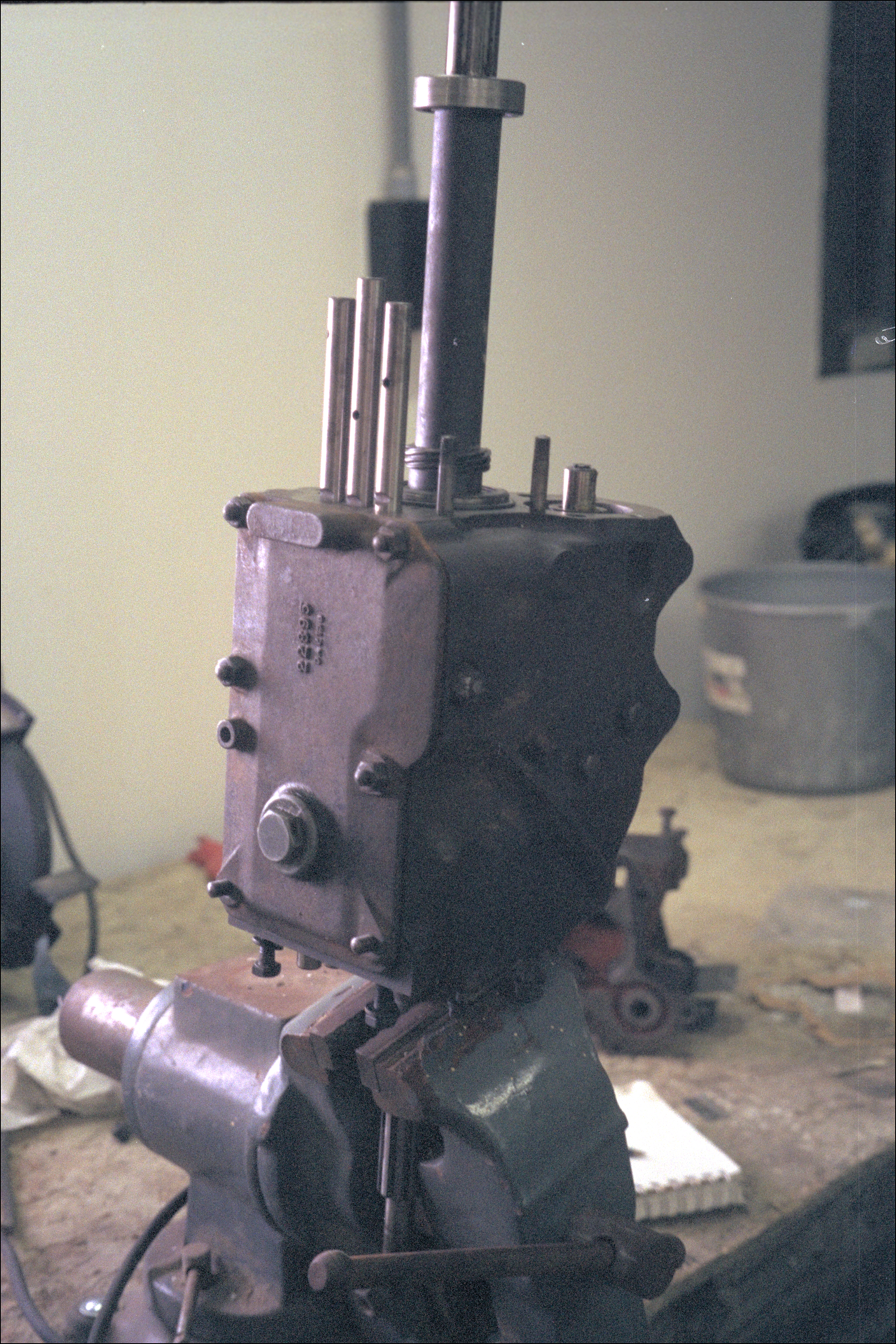 Transmission held in a vise
