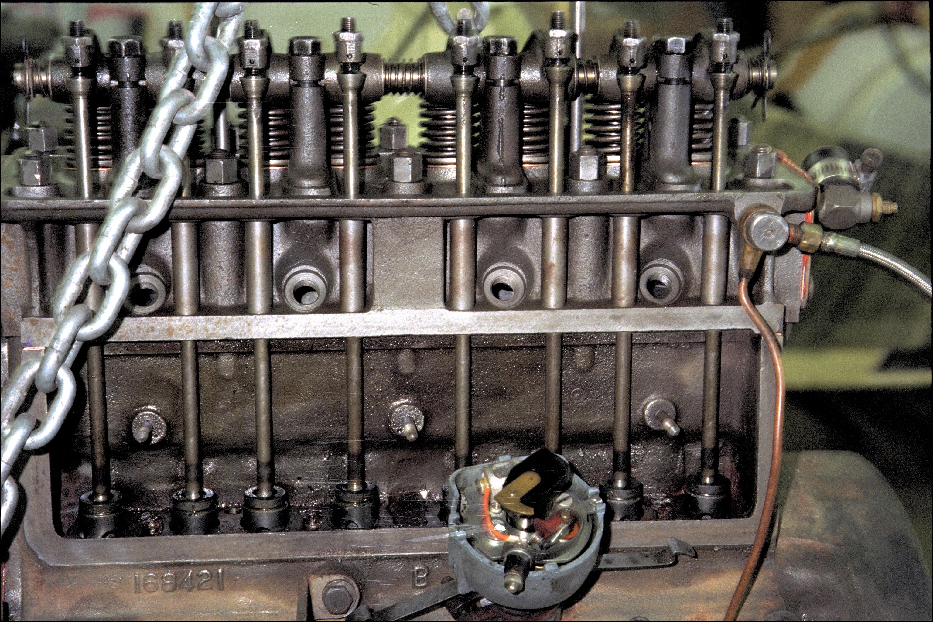 Engine left insides close up