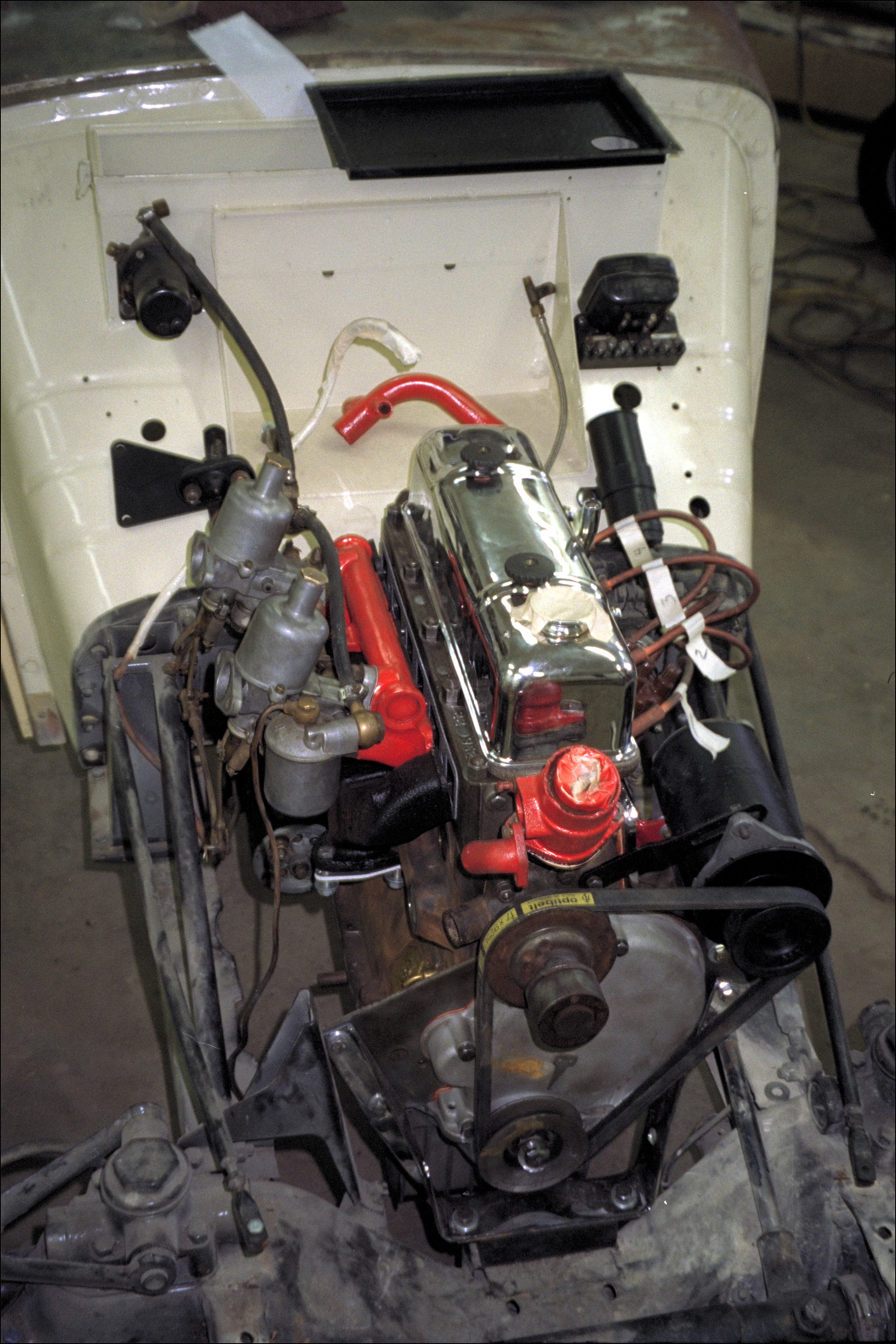 Top view of installed engine