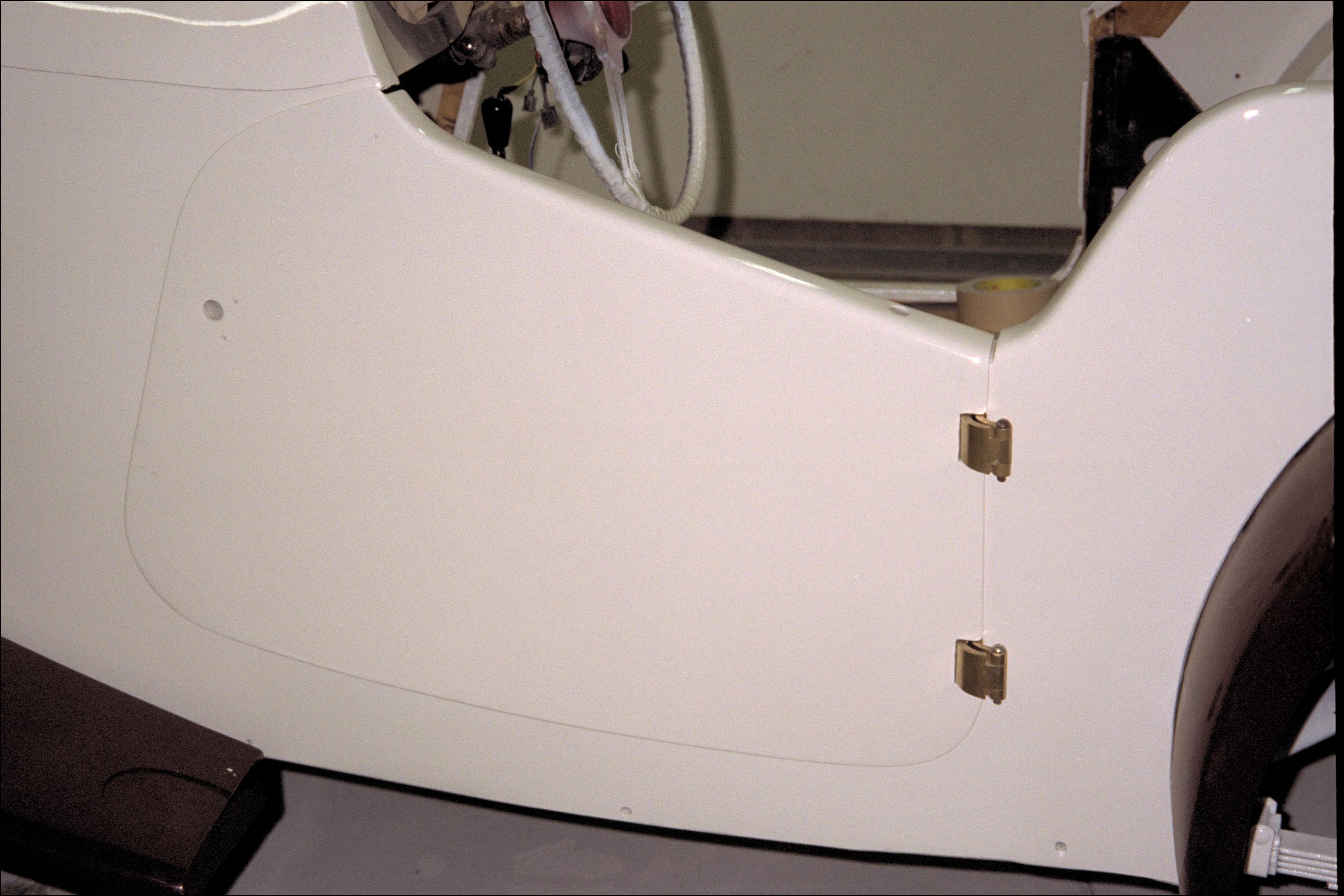 Left door hung on tub