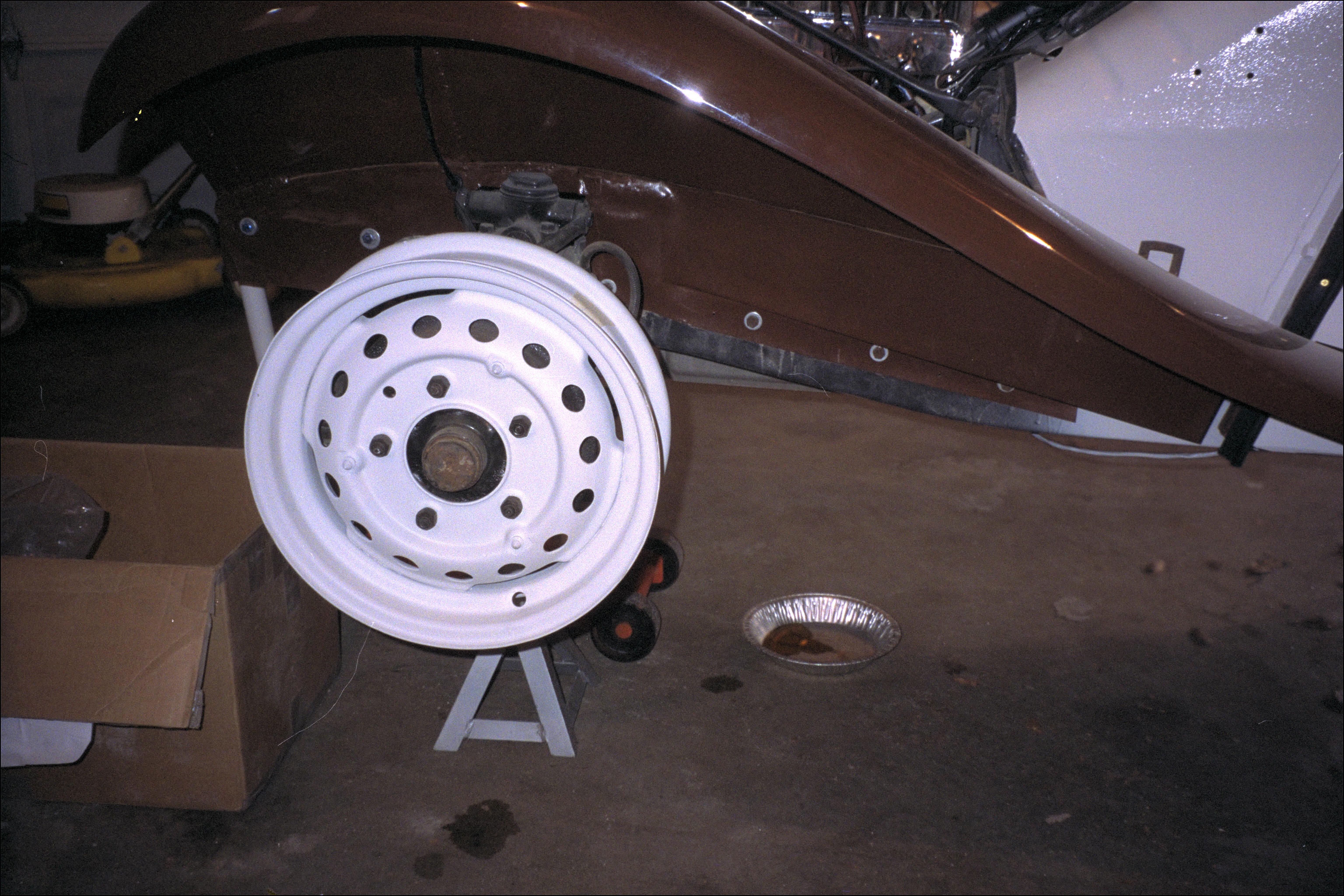 Painted rim on left front wheel