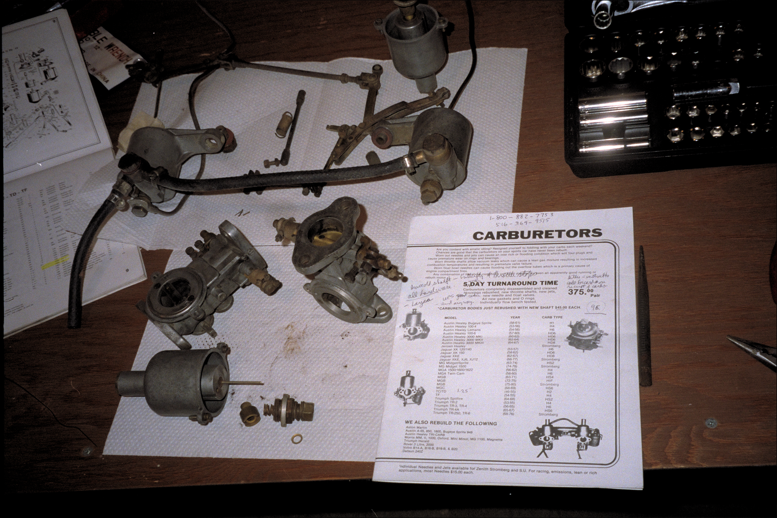 SU Carburetors, disassembled for rebuilding