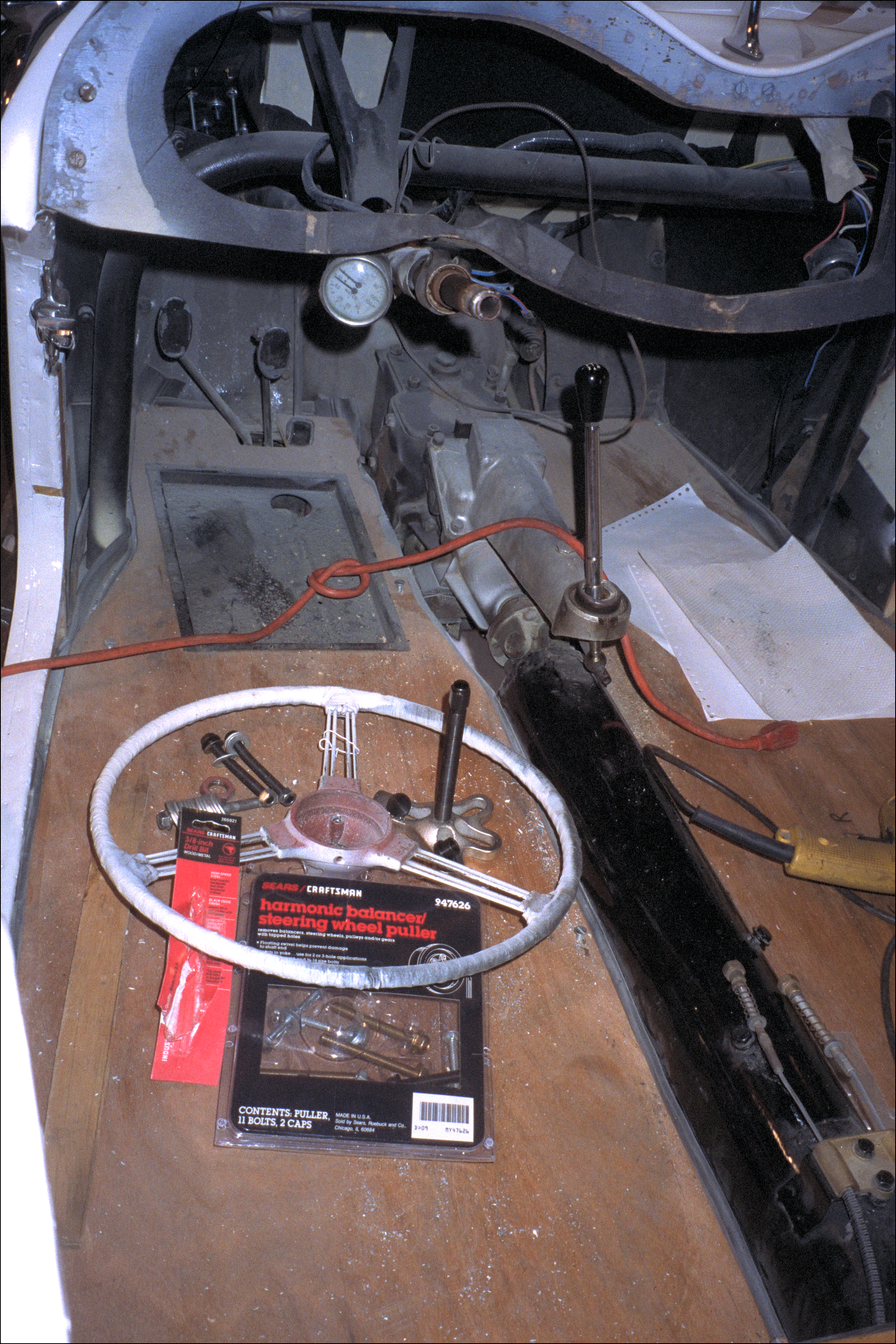 The removed steering wheel