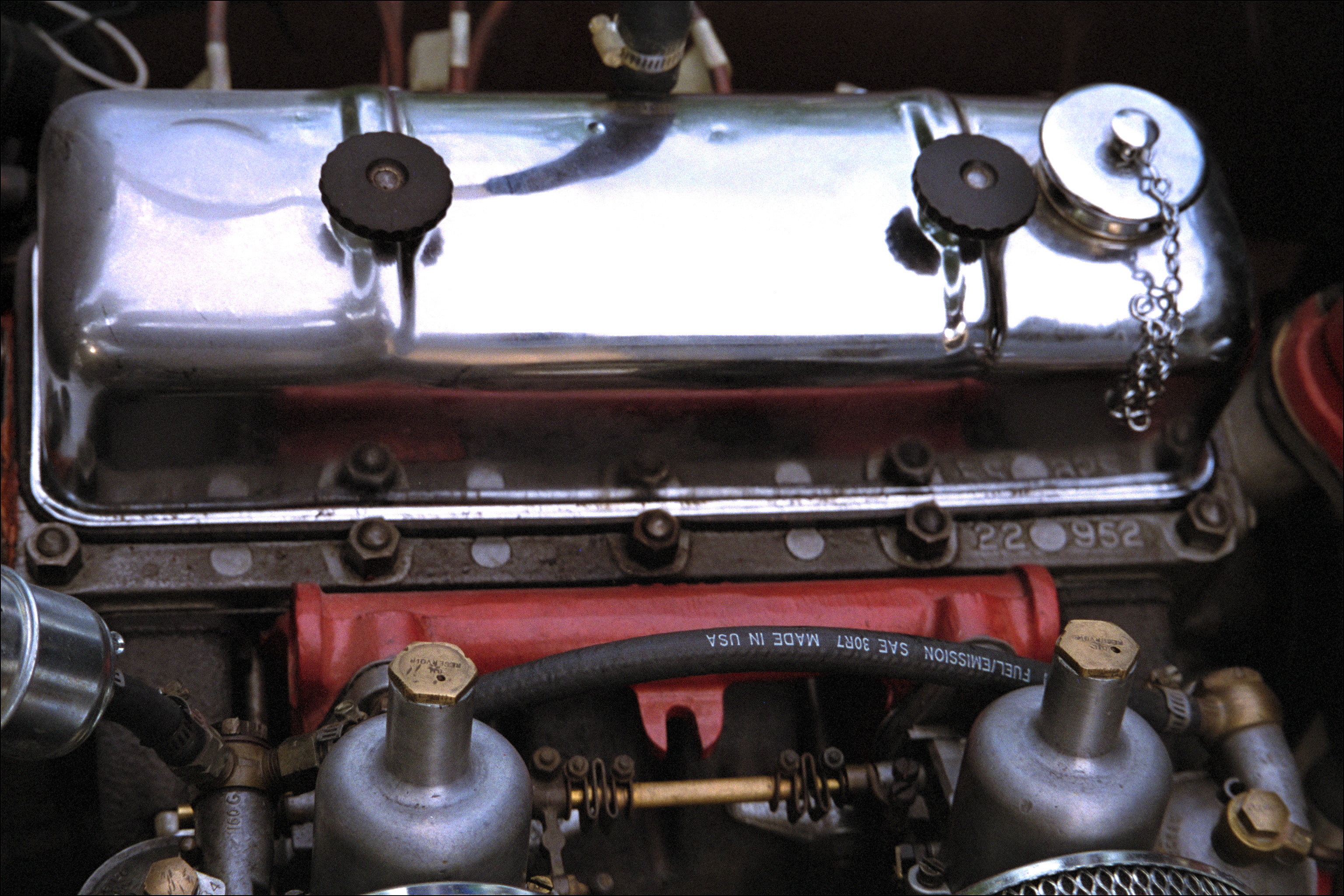 Engine valve cover, carbs, from top right