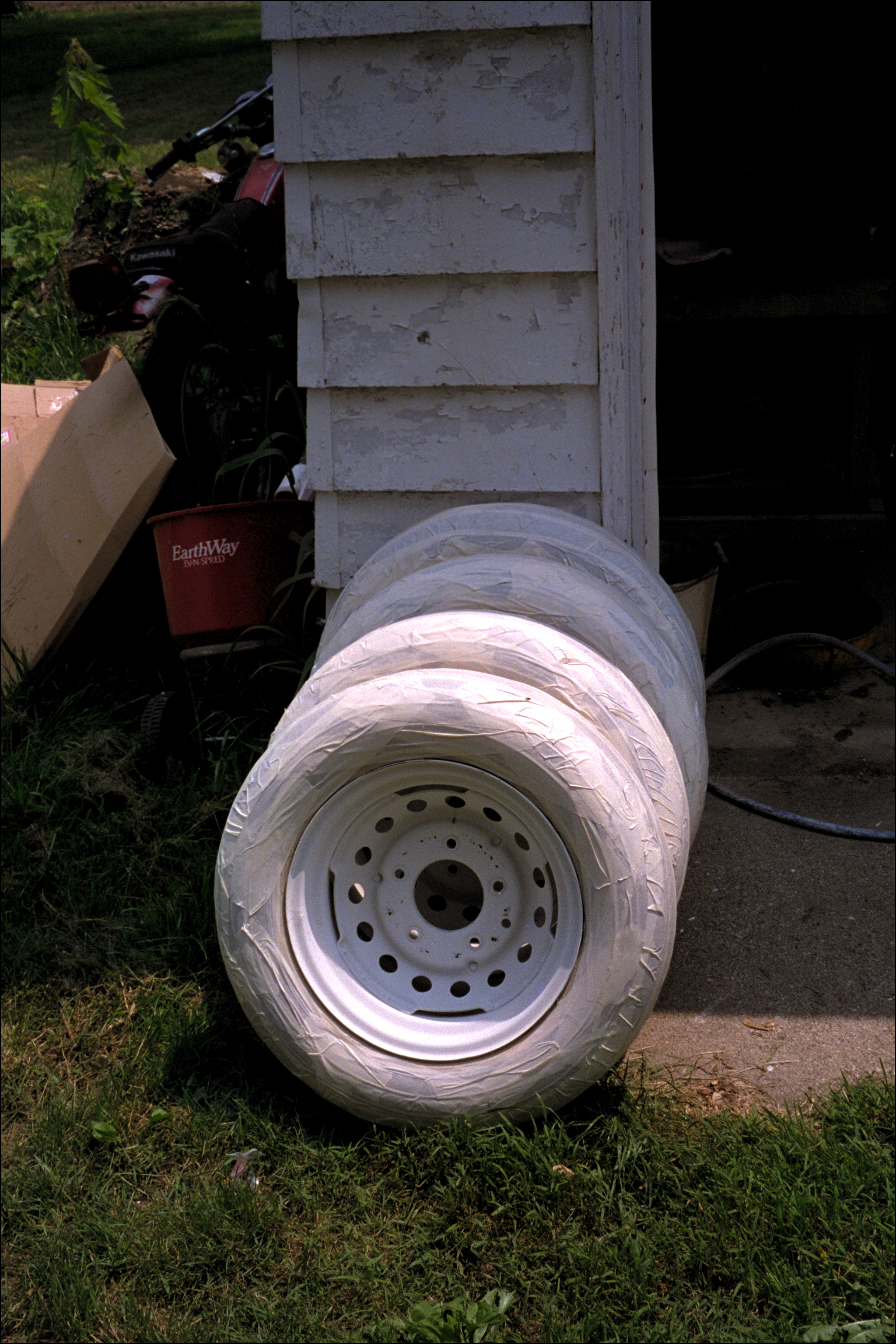 Tire & rims drying after finish painting
