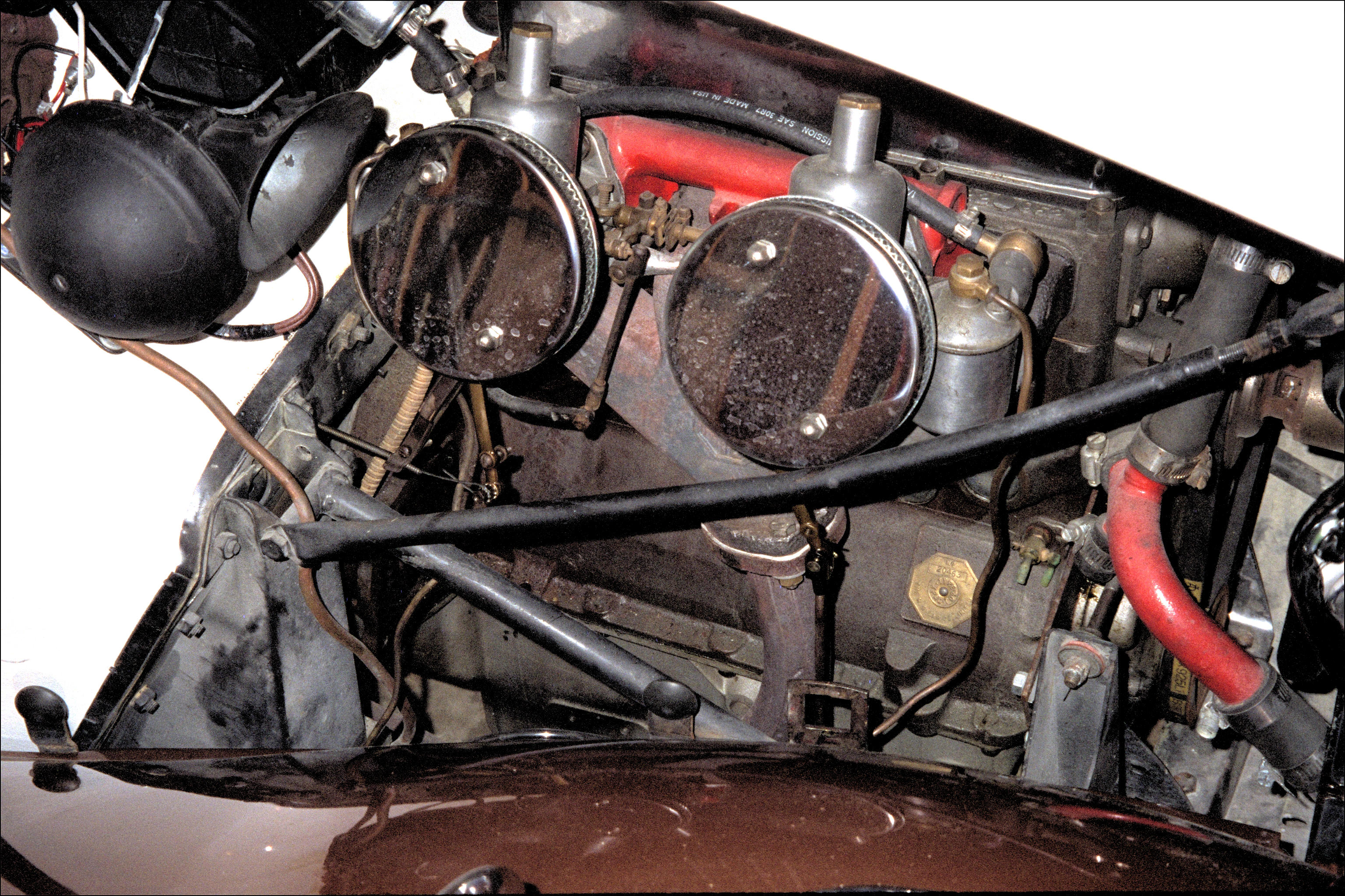 Engine under bonnet close up, from right